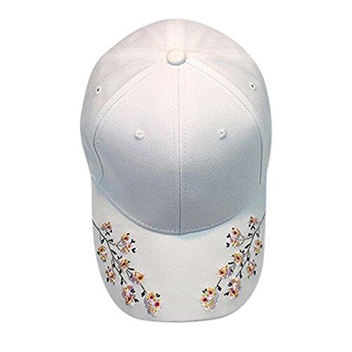 Hip Hop Hats, Wabaodan Cotton Embroidery Flower Fashion Baseball Cap Lady Fashion Shopping Cycling Duck Tongue Hat Anti Sai Cap (White) ()