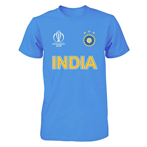 India Cricket World Cup 2019 Shirt Fan Supporters T Shirt Cotton (Large) Carolina Blue ()