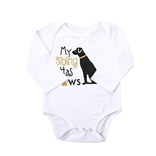 My Siblings Has paws Body Suit - Cute One-piece Infant Bodysuit Baby Romper (0-6M, Gold long sleeve)