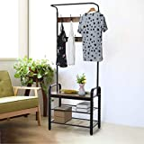 Maikouhai 2 in 1 Multifunctional Vintage Coat Rack Clothes Hanger Tree Shoe Bench Entryway Stairway Bedroom Corridor with 3 Tier Storage Organization Shelf