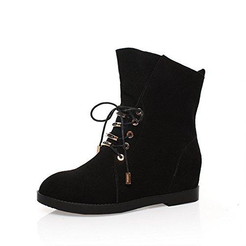 Amoonyfashion Para Mujer Redondo Y Cerrado Kitten-heels Botas Con Hilo Negro