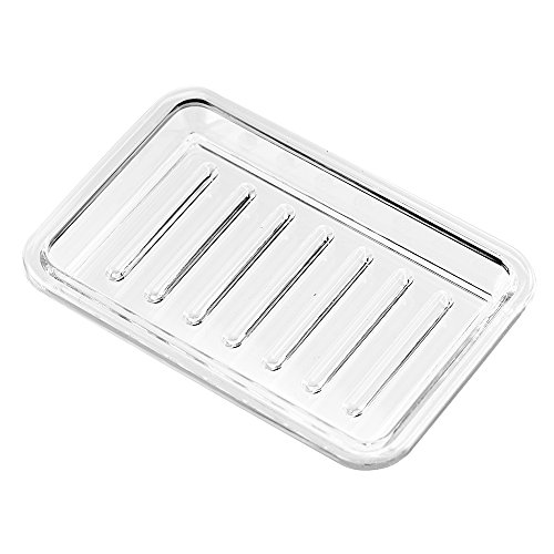 InterDesign Plastic Bar Soap Dish for Bathroom Sink or Shower - Ridged Soap Saver Design - Rectangular, Clear (Supreme Bathroom Sink)