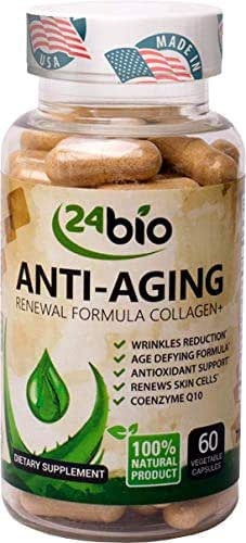 24bio Best CoQ10 Upgraded Collagen Pills, Wrinkle Reduction Supplement Complex with Grape Seed Extract That Works, Pure Verisol Collagen Capsules for Anti-Aging, Antioxidant Support & Skin Health
