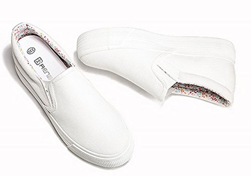 Sfnld Femmes Mode Coupe Basse Plate-forme Cachée Talon Slip Sur Espadrilles Toile Chaussures Blanc