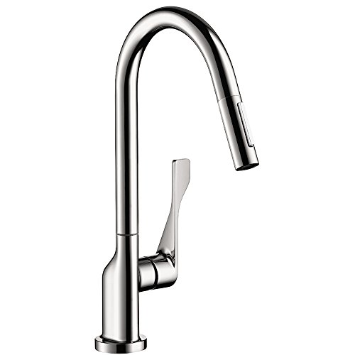 AXOR Citterio Luxury 1-Handle 17-inch Tall Kitchen Faucet with Pull Down Sprayer Magnetic Docking Spray Head in Chrome, 39835001
