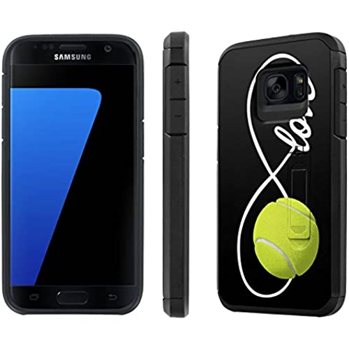 Galaxy [S7] [5.1 Screen] Defender Hybrid Case [SlickCandy] [Black/Black] Dual Layer Protection [Kick Stand] [Shock Proof] Phone Case - [Love Tennis] for Sales