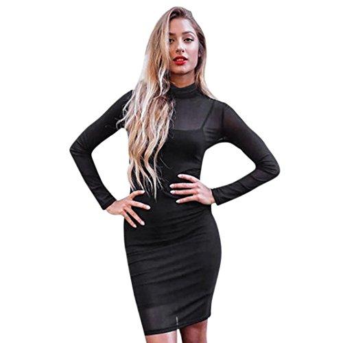 Greatgiftlist Women Bodycon Dress Long Sleeve Sheer Cowl Neck Black Mini Corset Dress (M, Black)