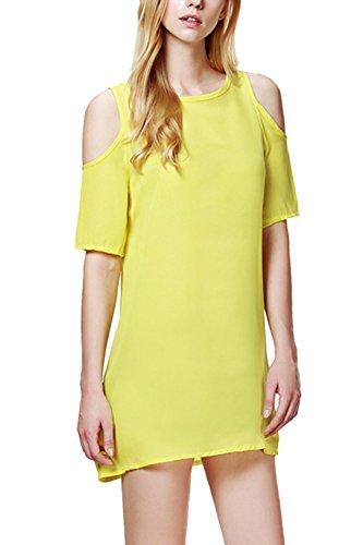 La Mujer Está Frío Hombro Elegante Camisa De Manga Corta Yellow