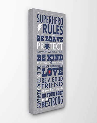 The Kids Room by Stupell Dark Blue Superhero Rules Rectangle Wall Plaque 11 x 0.5 x 15 Proudly Made in USA