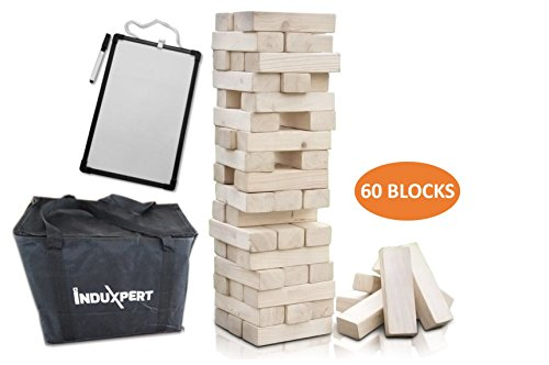 Giant Toppling Timbers Wooden Tower | Stacking Blocks for Outdoor; Yard Game for Adults & Kids | Have Fun Playing on Camping & Party | Smooth Polished Finish | Whiteboard, Pen & Carrying Case Included Giant Tumble Tower