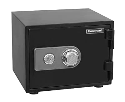 Honeywell 2101 Steel Fireproof/Waterproof Security Safe with Dual Dial and Key Lock Protection, 0.52-Cubic Feet, Black