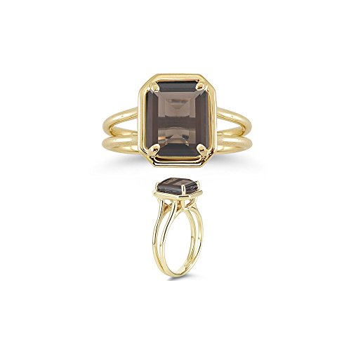 (2.76 Cts of 10x8 mm AA Emerald Smokey Quartz Solitaire Ring in 14K Yellow Gold-9.0)