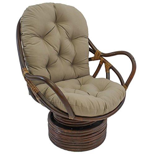 "Blazing Needles Solid Twill Swivel Rocker Chair Cushion, 48"" x 24"", Toffee"