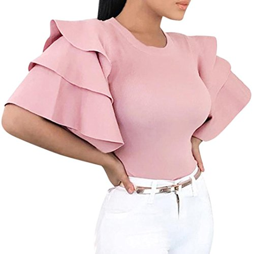 MODOQO Women's Casual O-Neck Layered Flare Sleeved Evening T-Shirt Top Blouse -