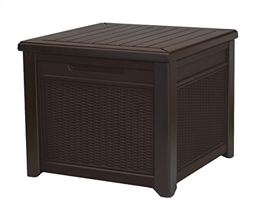 Keter 233705 55 Gallon Outdoor Rattan Style Storage Cube Patio Table, 1 Pack, Brown (Square Side Trunk Table)