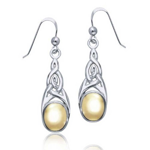 Two Tone Celtic Irish Love Knot Work Bezel Set Fish Hook Dangle Earrings For Women Gold Plated 925 Sterling Silver