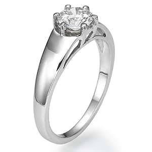Anillo de compromiso de diamante 14 K oro blanco 0,60 ct catapófisis D Color certificado I1 claridad
