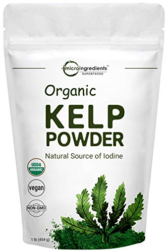 Sustainably US Grown, Organic Kelp Powder (Ascophyllum Nodosum), 1 Pound, Contains Natural Iodine for Thyroid Support, Body Wraps, Scrubs and Facials, No GMOs and Vegan Friendly