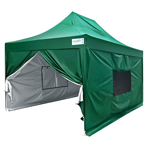 Quictent Upgraded Privacy 10x15 EZ Pop Up Canopy Tent Instant Folding Party Tent Pyramid-roofed Waterproof with 4 Sidewalls and Mesh Windows (Green)