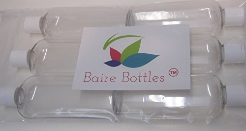 6 oz Clear Cosmo Oval Plastic Bottles with White Disc Top and FLORAL WATERPROOF LABELS - Pack of 6 by Baire Bottles (Image #1)