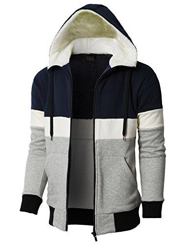 H2H Men's Full Zip Heavyweight Sherpa-Lined Fleece Hoodie Jackets Navy US L/Asia XL (KMOHOL0129)