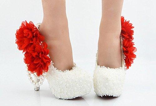 YCMDM scarpe da sposa Large Size Ultra High con il vestito da sposa rotonda scarpe da damigella d'onore del locale notturno Lace Bianco Fiore Rosso , 14 cm with high reservation , 43