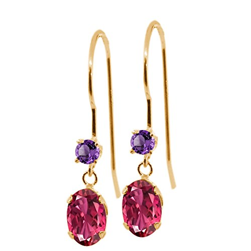 Gold Oval Amethyst Earrings - Gem Stone King 1.12 Ct Oval Pink Tourmaline Purple Amethyst 14K Yellow Gold Earrings