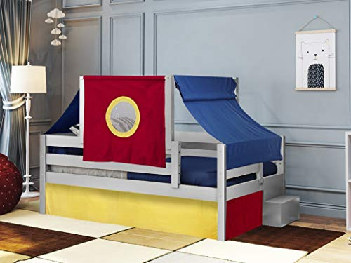 JACKPOT! Castle Twin Bed with Step Red Blue and Yellow Tent & Curtains, Gray