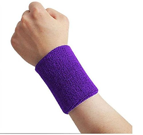 Kagogo 4 Inch Cotton Sports Wristband / Sweatband For Basketball Tennis And Other Sports, Price/Pair (Purple)