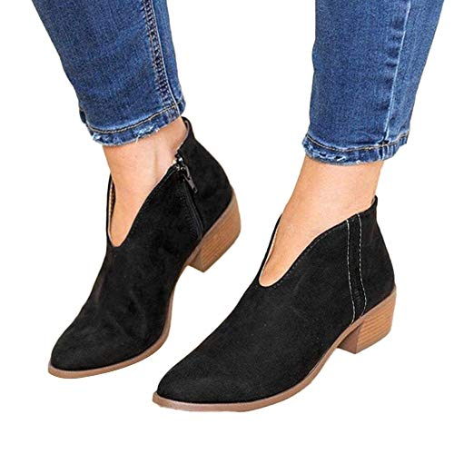 COPPEN Women Boots Square Heel Solid Color Suede Zipper Round Toe Shoes Black -