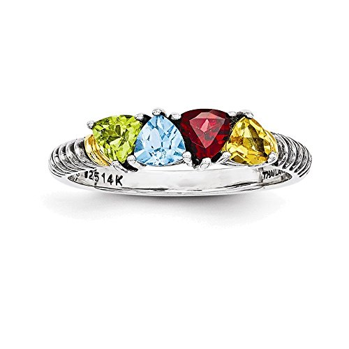 Jewelry Adviser Rings Sterling Silver & 14k Four-stone Mother's Ring Mounting Size 10 14k Ring Mounting