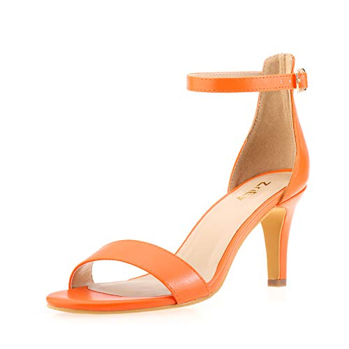 ZriEy Women's Heeled Sandals Ankle Strap High Heels 7CM Open Toe Mid Heel Sandals Bridal Party Shoes Orange Size 6