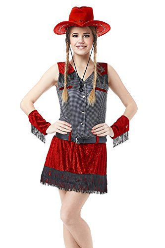 Adult Women Rodeo Cowgirl Halloween Costume Pretty Sheriff Dress Up & Role Play (Wild West Sheriff Cowgirl Costume)