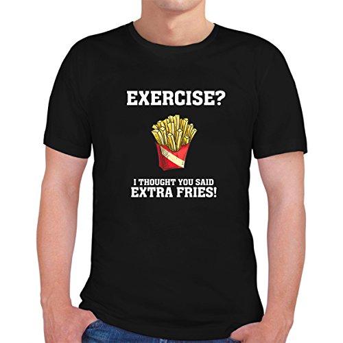 Black Funny Design T-shirt - Exercise? Funny Design Black T-Shirt -%100 Cotton (Large)