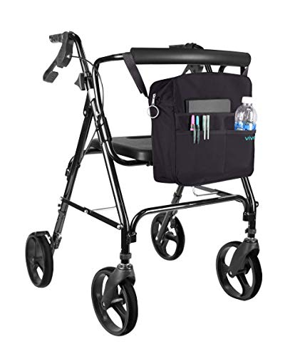 Rollator Bag by Vive - Universal Travel Tote for Carrying Accessories on Wheelchair, Rollator, Rolling Walkers & Transport Chairs - Lightweight Handicap Medical Mobility Aid, Black by VIVE