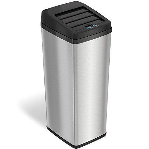Optional Metal Finishes - iTouchless 14 Gallon Sliding Lid Automatic Sensor Trash Can with Odor Filter System, 52 Liter Stainless Steel Touchless Kitchen Garbage Bin