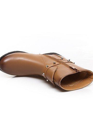 Uk4 Eu36 Brown Tacón Botas Brown Mujer De Cuero Eu39 Redonda Cerrada Cn39 Xzz us8 Zapatos Bajo Vestido Exterior Uk6 Trabajo Punta Casual Sintético us6 Cn36 Y Oficina Sx48Bw