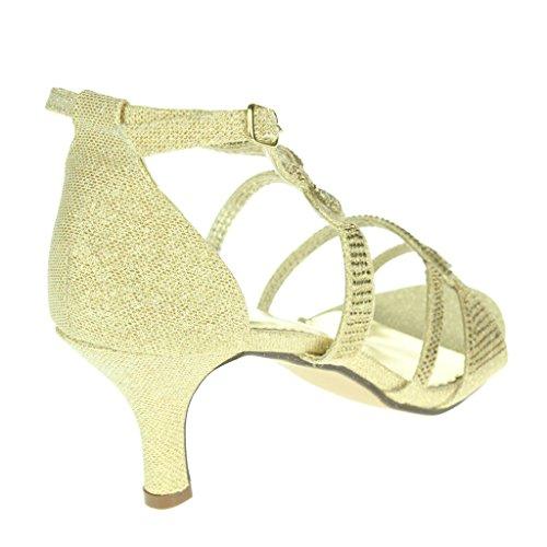 Mujer Señoras Diamante Embellecido Enjaulado Tacón medio Noche Fiesta Boda Paseo Sandalias Zapatos Tamaño Oro