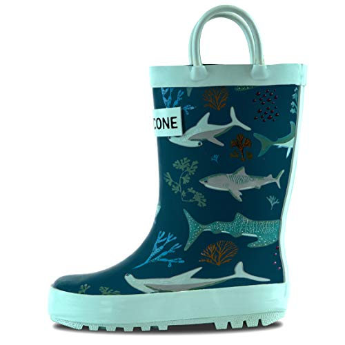 LONECONE Rain Boots with Easy-On Handles in Fun Patterns for Toddlers and Kids, Shark Attack, Toddler 5