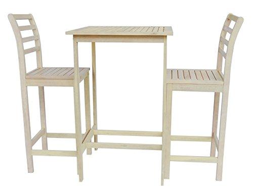 Eucalyptus Bar Chair - Zen Garden ZG014 Eucalyptus 3-Piece Bar Set with Bar Table and 2 Bar Chairs, Oak White Wood Finish