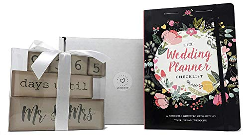 Bridal Shower Gifts – Engagement Gifts – Couples Gifts – This Wedding Planning Gift Set Features a 6 Piece Wooden Block…