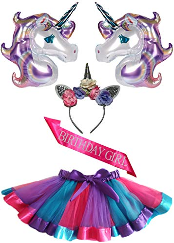 5 Pack - Unicorn Tutu Set - Birthday Girl Outfit - Unicorn Headband, Tutu Skirt, Pink 'Birthday Girl' Sash, Oversized Purple Balloons - Accessories - Costume - Party Supplies