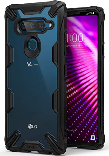 Ringke Fusion-X Compatible with V40 Case Ergonomic Transparent [Military Drop Tested Defense] Hard PC Back TPU Bumper Impact Resistant Protection Cover for LG V40 ThinQ (2018) - Black