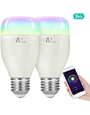 ACCEWIT Wi-Fi Smart Bulb Dimmable LED Light Bulb, 20000 Hours of Life 16 Million Colors of Lighting 7W W6500K + RGB with Smart Device and Voice Control of Amazon Alexa and Google Home - 2 Pack