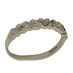 925 Sterling Silver Real Genuine Emerald and Diamond Womens Eternity Band Ring