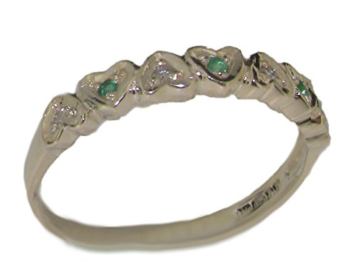 925 Sterling Silver Natural Emerald and Diamond Womens Eternity Ring Sizes 4 to 12 Available