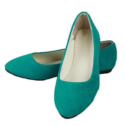 Estimado Tiempo Zapatos Planos De Las Mujeres Cómodo Deslizamiento En Punta Ballet Pisos Verde Hierba