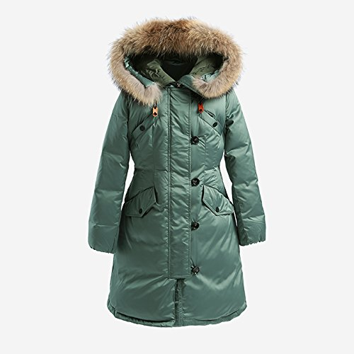 Down Jacket Two And Collar A Waist Hooded Autumn Hip Section Xuanku Warm Color Female Winter green Word pAq6WPPv