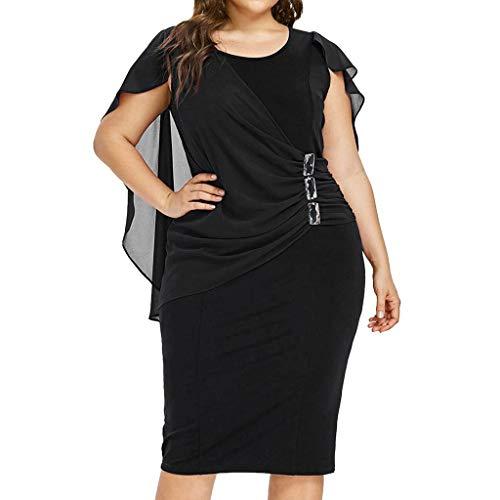 Goddessvan 2019 Womens Chiffon Plus Size Ruffle Flattering Cape Sleeve Bodycon Party Pencil Dress Black