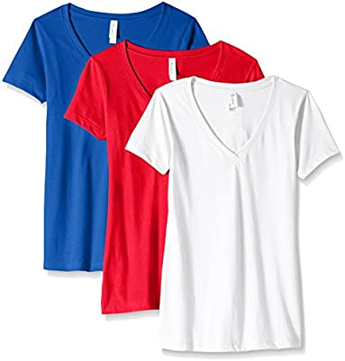ff382dd59dce Clementine Apparel Women's Petite Plus Ideal V-Neck T-Shirt (Pack of ...